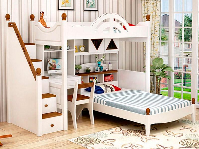Bàn học kết hợp giường tầng bằng gỗ rất đẹp và sang trọng.
