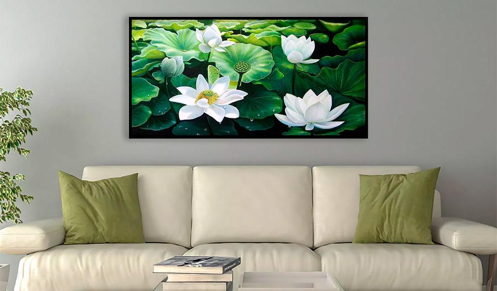Tranh sơn dầu đẹp hình hoa sen, sự thanh bình đến từ thiên nhiên.