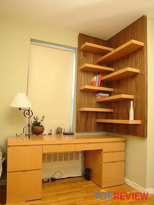kệ sách gỗ treo góc tường