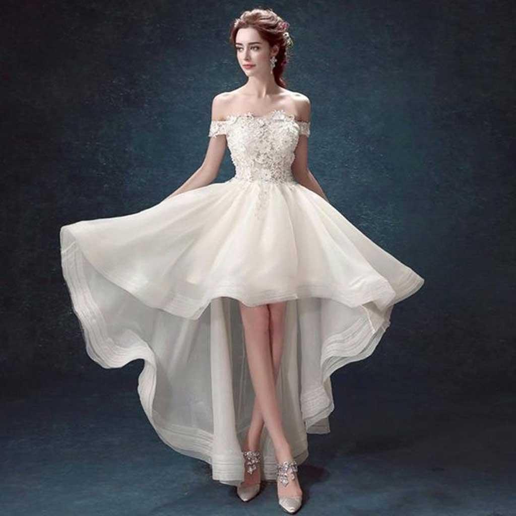 Váy cưới ngắn đuôi cá dài nhẹ nhàng