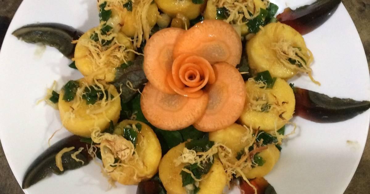Đậu hũ non rán ăn cùng trứng bắc thảo và chà bông, món ngon độc lạ