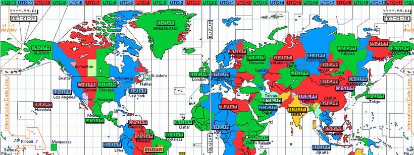 Bản đồ về múi giờ, trong đó Pháp có nhiều múi giờ nhất thế giới.
