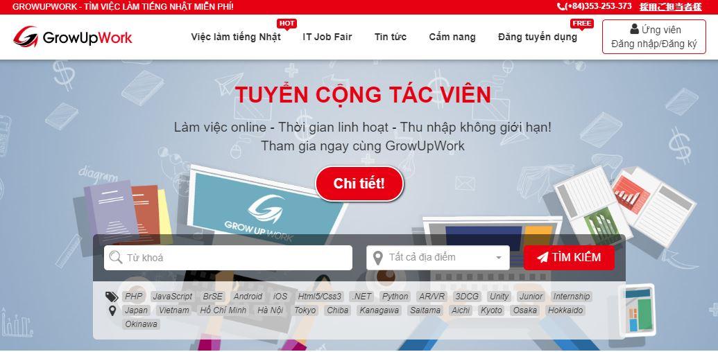 Growupwork.com Mạng tuyển dụng việc làm tiếng Nhật miễn phí hàng đầu Việt Nam