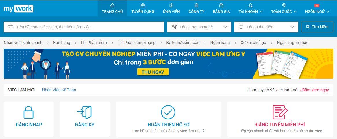 MyWork đang nằm trong TOP 3 nhà tuyển dụng trực tuyến tại Việt Nam