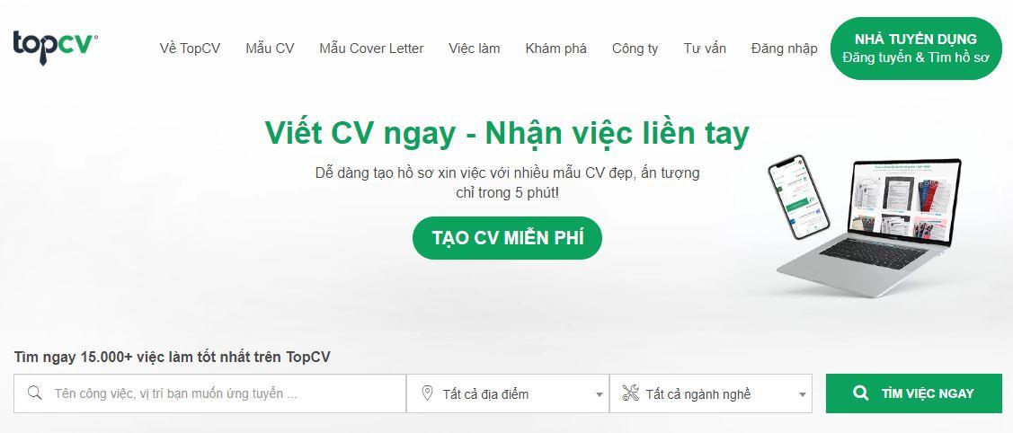 Tạo CV miễn phí và tham gia Tuyển dụng việc làm trên Topcv.vn