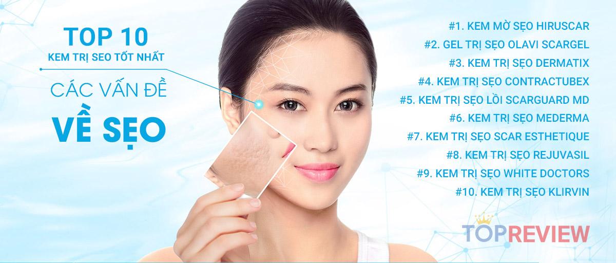 Top 10 loại kem trị sẹo tốt nhất 2020 H2 #1. Kem làm mờ và trị sẹo Hiruscar H2 #2. Gel trị sẹo hiệu quả Olavi Scargel H2 #3. Kem trị sẹo Dermatix của Mỹ H2 #4. Kem trị sẹo Contractubex H2 #5. Kem trị sẹo lồi lâu năm Scarguard MD H2 #6. Kem trị sẹo Mederma H2 #7. Kem trị sẹo Scar Esthetique Mỹ H2 #8. Kem trị sẹo Rejuvasil của Mỹ H2 #9. White Doctors H3 Hướng dẫn sử dụng: H2 #10. Kem trị sẹo Klirvin