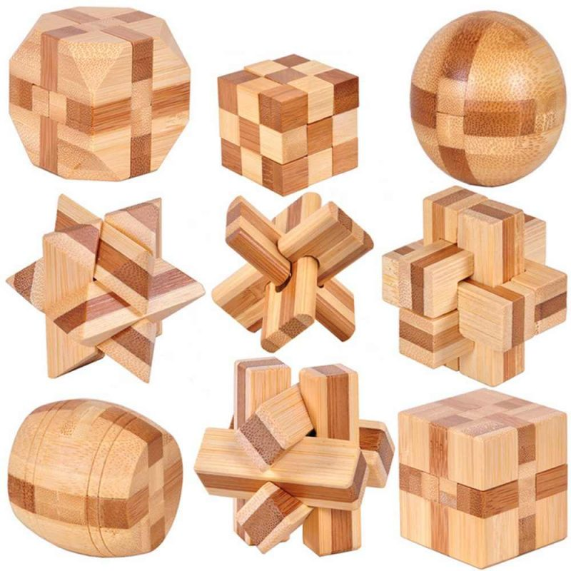 Đồ chơi giải đố khối gỗ khóa cho trẻ em