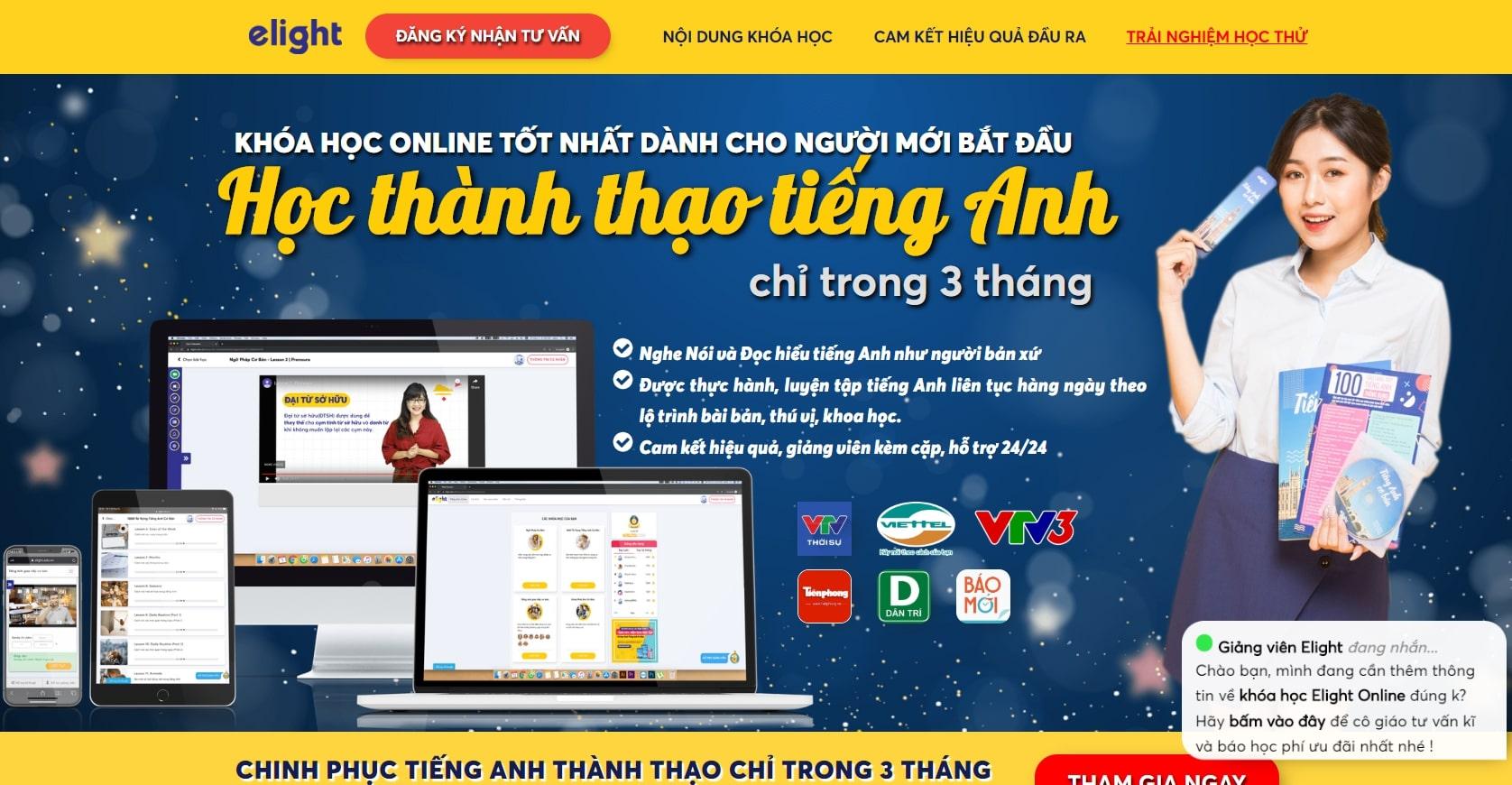 Elight Learning English - website học tiếng Anh được nhiều bạn theo học