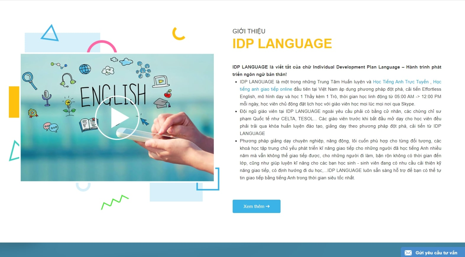 IDP Language - website học tiếng Anh giao tiếp hiệu quả