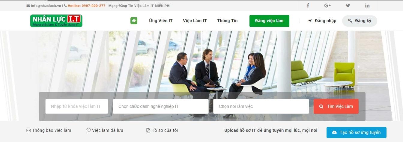 Nhanlucit - website tuyển dụng dành cho dân công nghệ thông tin