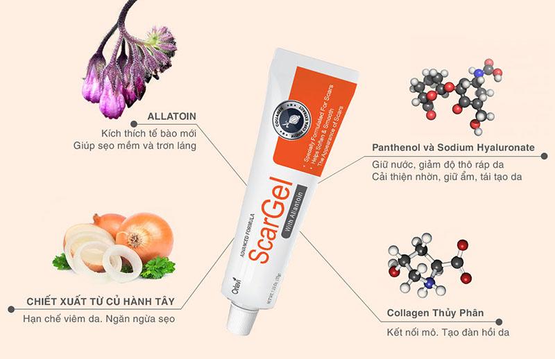 Thành phần có trong thuốc gel trị sẹo Orlavi Scar Gel