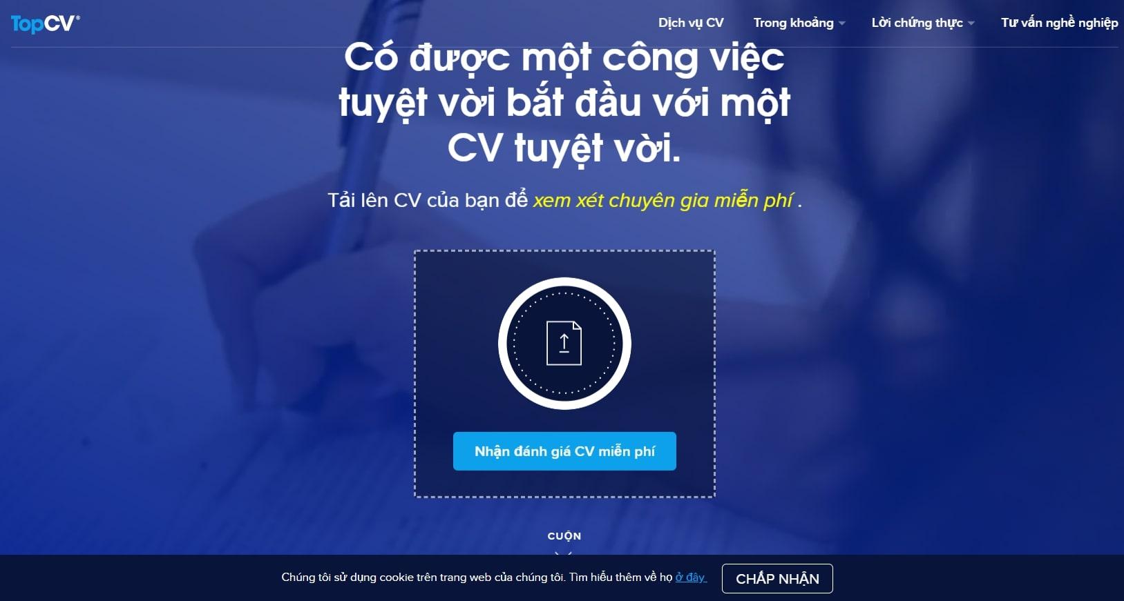 Topcv - website tạo Cv online