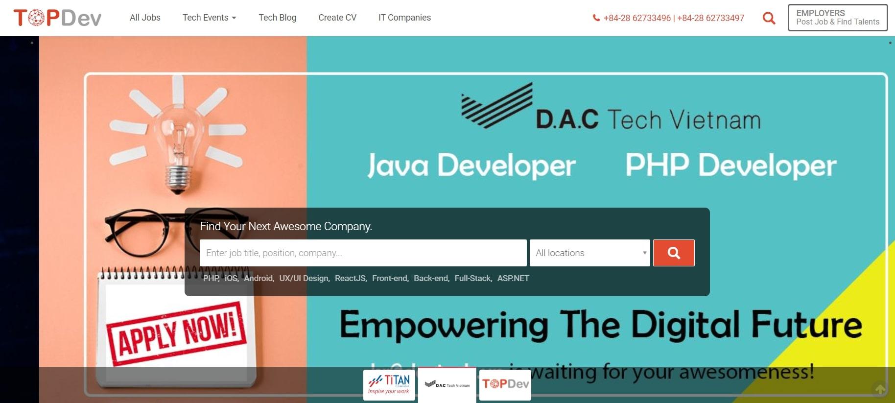 Topdev.vn trang web được dân công nghệ thông tin quan tâm