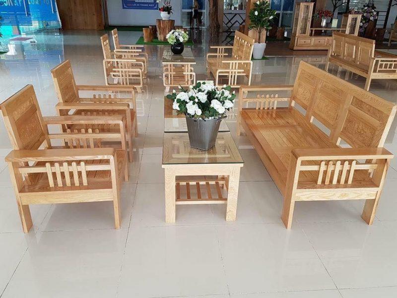 Mẫu bàn ghế gỗ phòng khách nhỏ Phúc Lộc Thọ gỗ sồi Nga