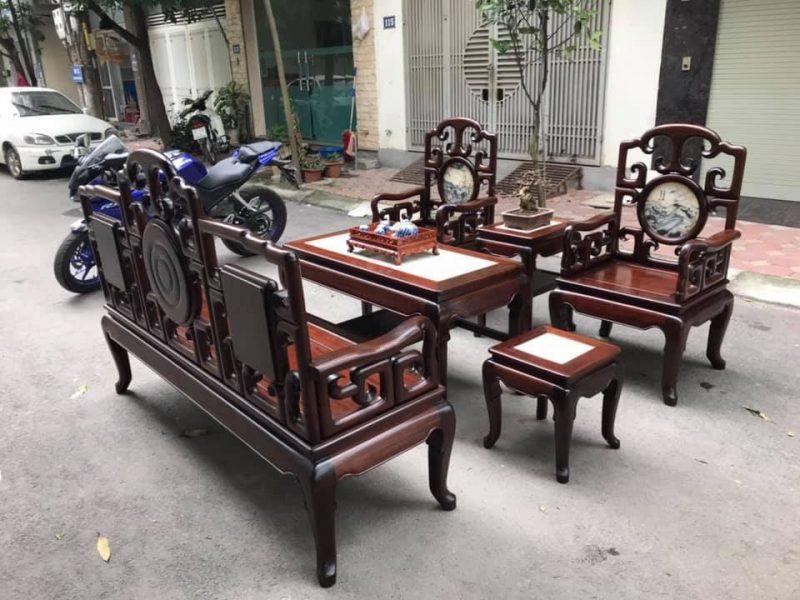 Bộ bàn ghế gỗ gụ 6 món