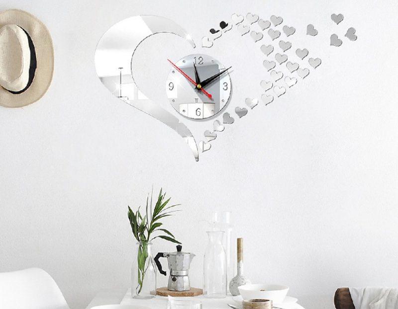 Đồng hồ treo tường 3D hình tim phong cách châu Âu hiện đại