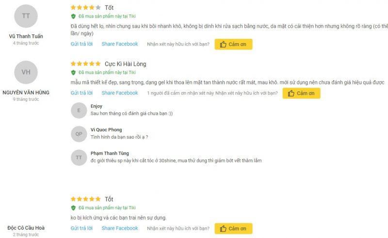Review sữa dưỡng da cho nam Grinif All In One 4 Gentleman từ khách hàng trên Tiki