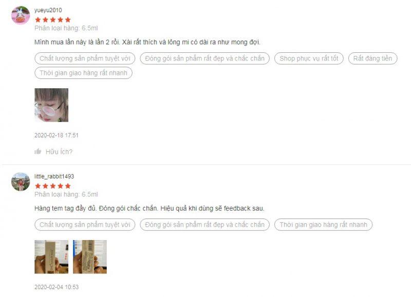 Review tinh chất dưỡng mi DHC từ khách hàng trên Shopee