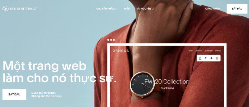 Squarespace giúp tạo website bán hàng miễn phí thời thượng, đẳng cấp