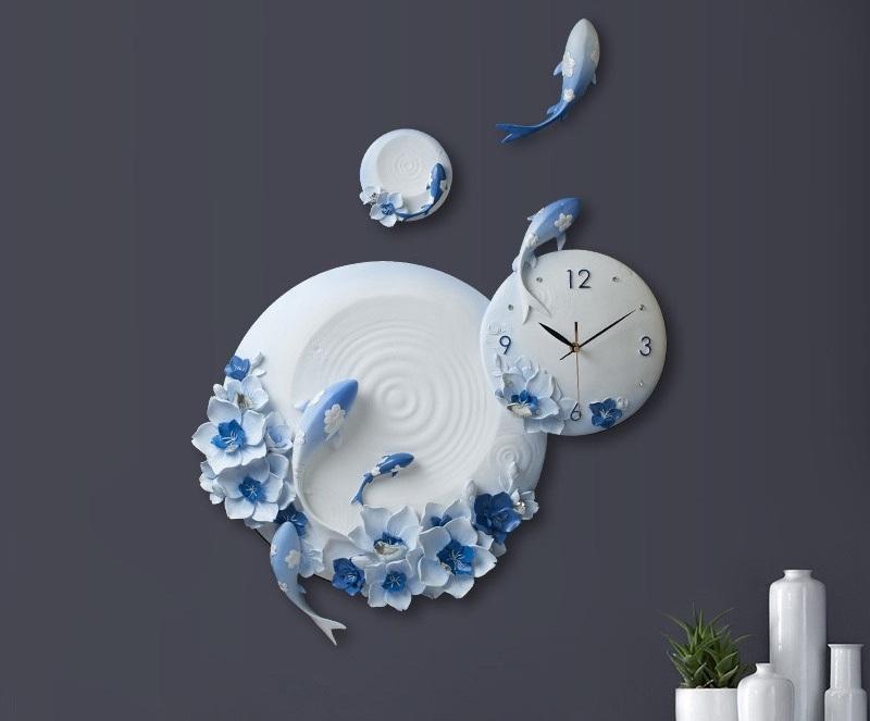 Đồng hồ phù điêu cá chép vượt vũ môn
