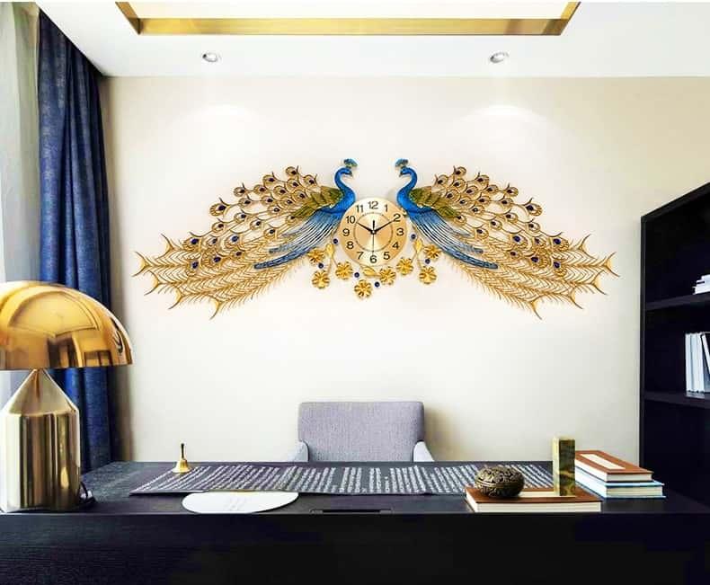 Đồng hồ treo tường hình đôi chim công
