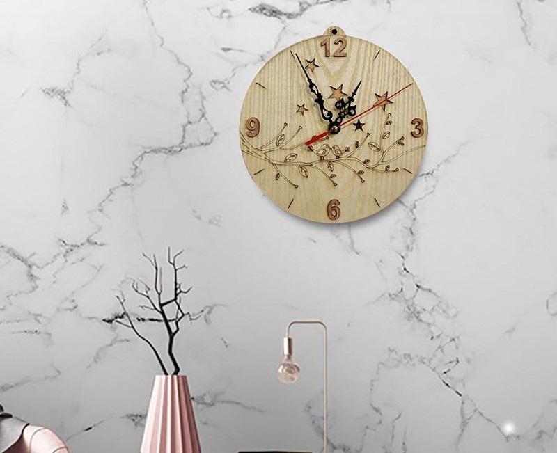 Đồng hồ treo tường vân gỗ đẹp