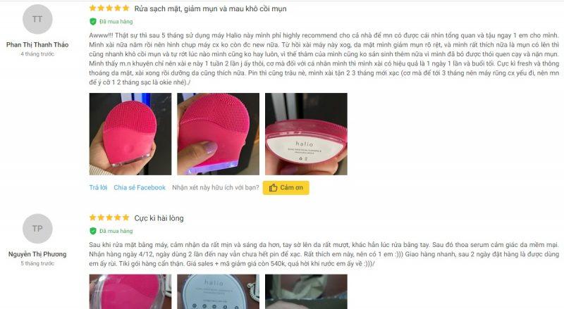 Đánh giá máy rửa mặt Halio từ khách hàng trên Tiki