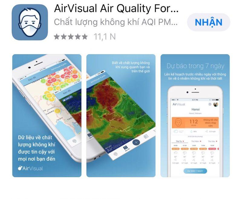 App đo ô nhiễm không khí được nhiều người sử dụng