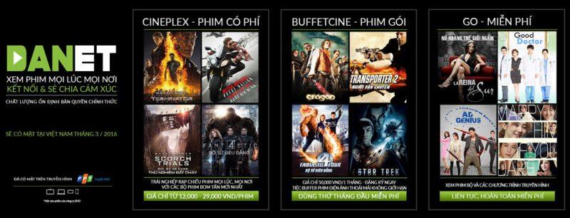 Danet còn cung cấp dịch vụ cho thuê phim điện ảnh mới chiếu rạp, phim điện ảnh đang hót