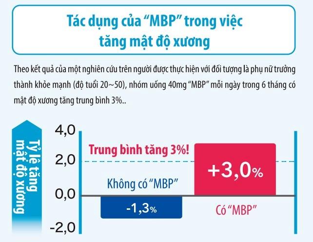 """Hiệu quả của """"MBP"""" cũng được chứng minh lâm sàng có tác dụng tăng mật độ xương"""