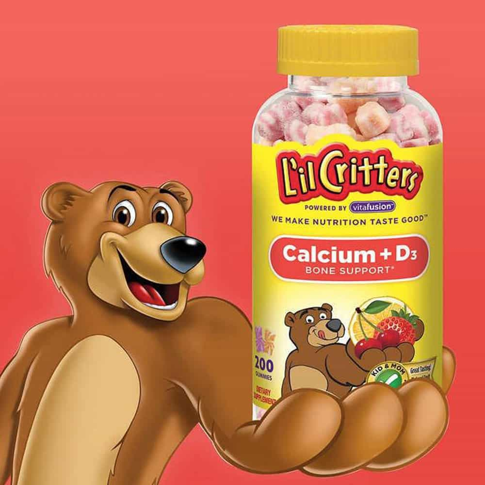Kẹo dẻo bổ sung Canxi L'il Critters Calcium + D3 (Mỹ)