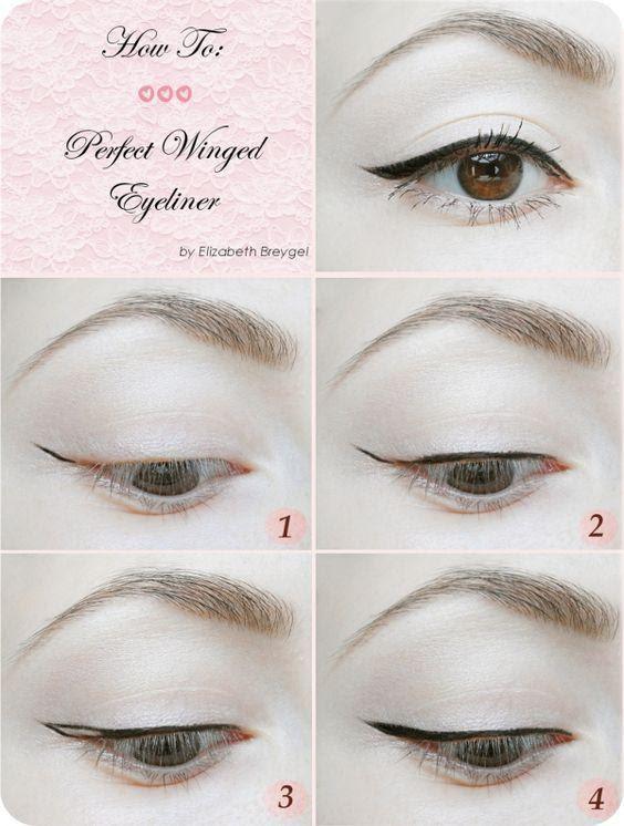 Dùng bút kẻ mắt eyeliner đồ vào phần còn trống của đuôi mắt như hình